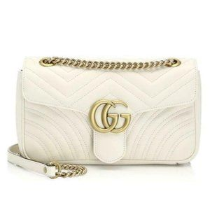 Gucci Marmont Gg Small White Leather Shoulder Bag
